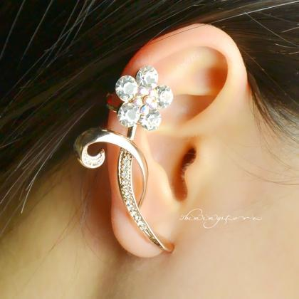Flower Ear Cuff , Gold ear cuff , R..