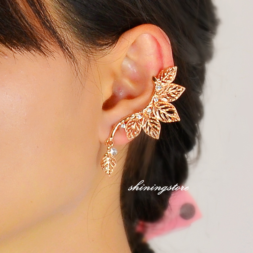 Leaf Ear Cuff Elf Rose Gold Sweep Punk Boho Bohemain Earrings Gift For Her